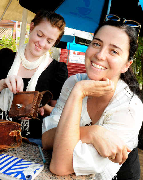 Budget conscious: Friends Fiona Tate (left) and Natalie Wilkin, of Lismore, treat themselves lunch.