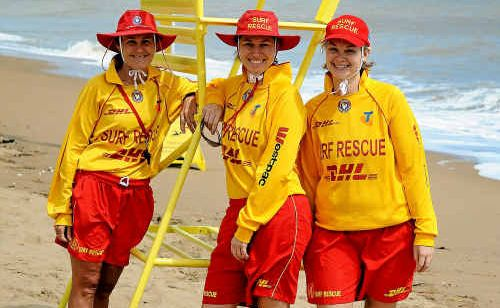 Moore Park Surf Life Saving Club Training Officer Lynne Messer with new lifesavers Tracey Goggi and Erin Pratt keeping watch on the beach during a patrol.