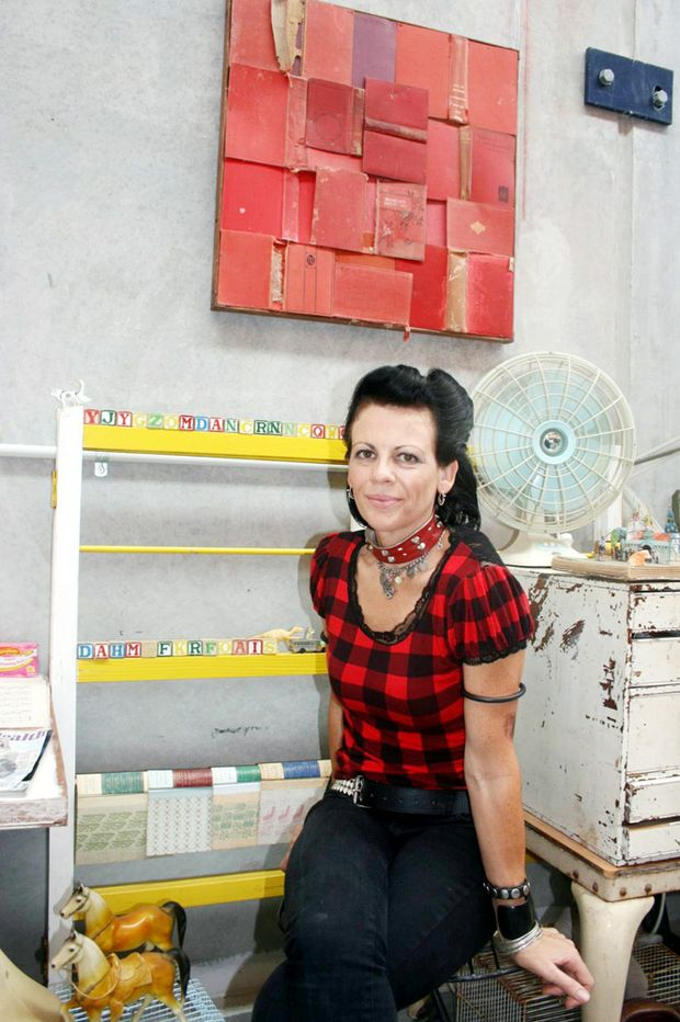 Mullumbimby artist Kate Maurice in her new studio. Thanks to a $10,000 grant she has set up a new studio and office in the town.