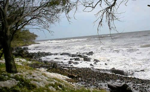 Choppy water at Burnett Heads after Cyclone Yasi wreaks havoc on the ocean.