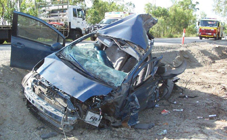 TORN APART: A Wowan man somehow escaped with only minor injuries when his car collided with a truck on the Burnett Highway near Jambin.