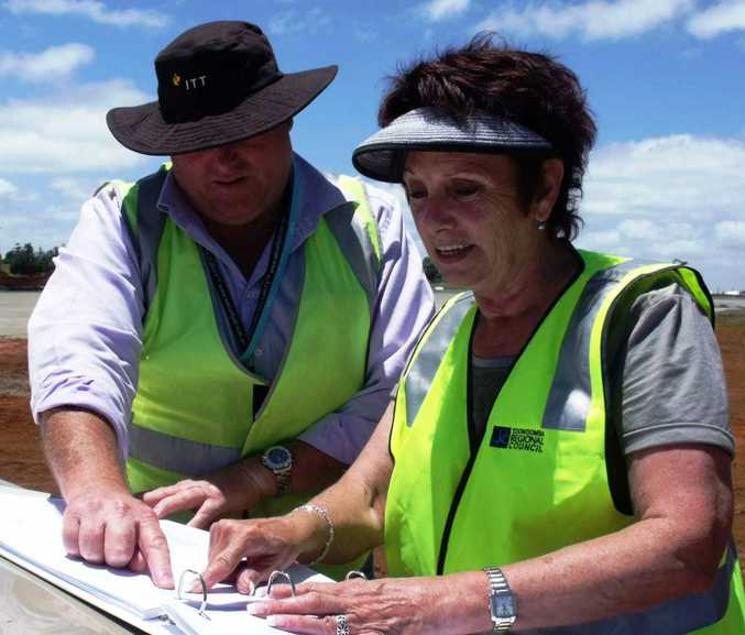 Project manager David Pemberton briefs Engineering Services portfolio leader Cr Carol Taylor on the latest upgrade works at the Toowoomba Aerodrome.