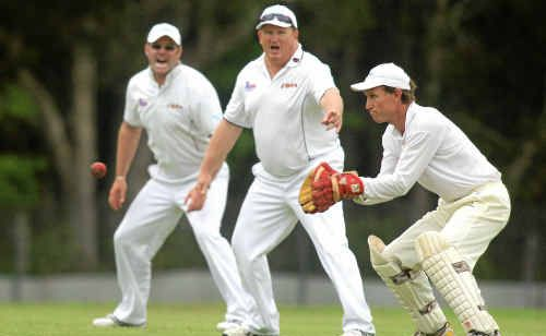 Cricket action Pottsville V South Tweed- South Tweed keeper Matthew Bedford about to take a catch as Tony McDonald and John Fallows watch on in anticipation
