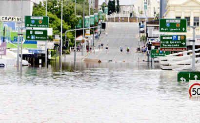 Flooding in Limestone Street, Ipswich, last month.