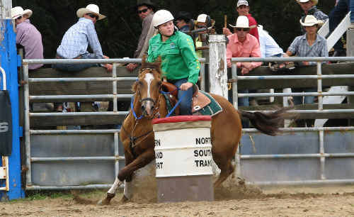 TIGHT TURN: Emerald barrel racer Aleisha O'Dell on the fly for the Australian High School Rodeo team in New Zealand at the weekend. cont