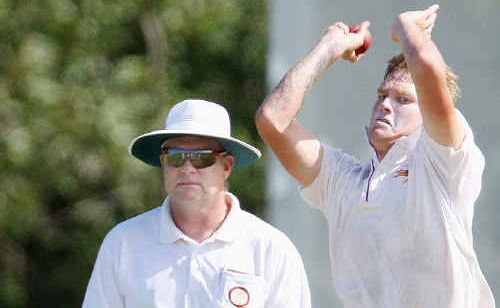 Josh Brady sends down a scorcher during yesterday's play. But overall coach Brad Murphy said he was disappointed with the team's bowling effort.