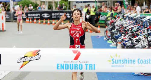 Diminutive Barbara Riveros overcame injury to win the elite women's race during the Caloundra Tri.