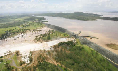 Wivenhoe Dam under full release during the recent flooding.