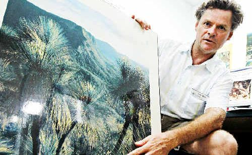 John Nagle, catchment officer for the Northern Rivers Catchment Management Authority, shows the types of vegetation the critically-endangered eastern bristlebird lives in. Jay Cronan