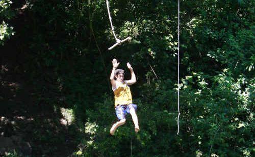 The rope swing at Gardeners Falls