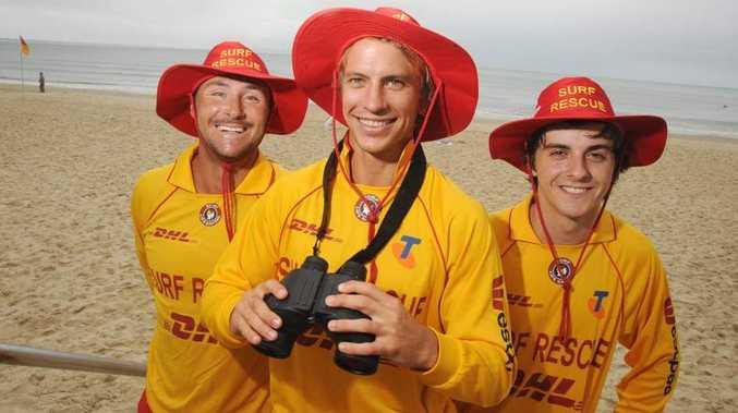 Lifesavers keeping Noosa Main Beach safe (l-r) Isaac Smith, Rowan Simpson and Alex Cattanea.  Photo:Warren Lynam / Sunshine Coast Daily