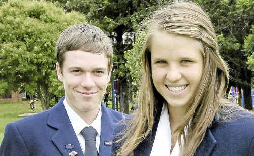 Toowoomba Christian College captains Cole Schoultz and Sarah Freeman plan to build confidence in students at the school.