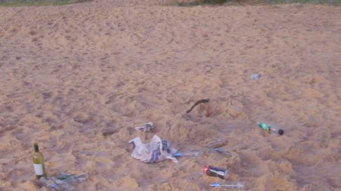 Partygoers leave a mess after trampling the Wurtulla dunes. Photo: contributed