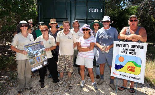 Cabarita Beach Dune Care volunteers with the shipping container provided by Tweed Shire Council.