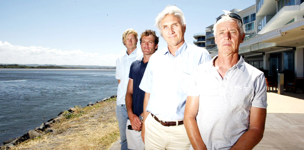 SHORE-BOUND: James Foster, Michael Cocks, Bill Payne and Bernie Nichols are fighting for a marina to be built in Ballina.