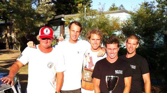 Byron Bay Boardriders team members Lee Miller, Tom Donohoe, Luke Stickley, Danny Wills and Ben Simpson.