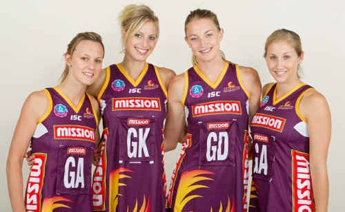 Queensland Firebirds players Natalie Medhurst, Laura Geitz, Amy Steel and Candice Adams raised valuable funds during the Firebirds Fundraising Netball Clinic at Jardine Park on Tuesday.