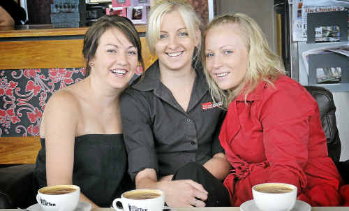 Friends (from left) Stephanie Cook, Bec Solomon and Carli Berman reckon Toowoomba blokes need to ditch cheesy pick-up lines when trying to meet women.
