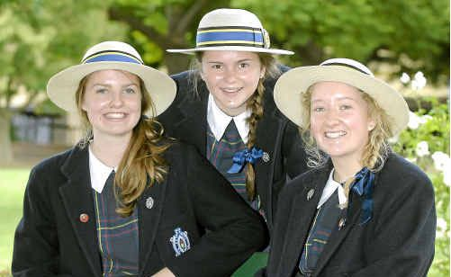 Getting ready for a busy year at Fairholme College are (from left) head day girl Georgia Shine, head girl Alexandra Richards and head boarder Rowena Upton.