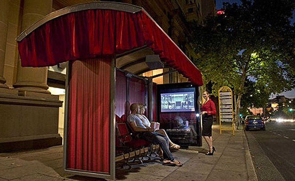 Built as part of the Adelaide Film Festival, this bus shelter movie theatre features authentic theatre seating, cutains and a projector showing screenings every evening.