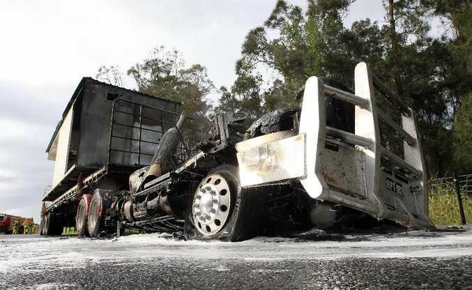 The burn-out semi-trailer.