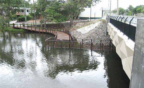 Tooway Creek's new boardwalk. Council knew it would be submerged during king tides.