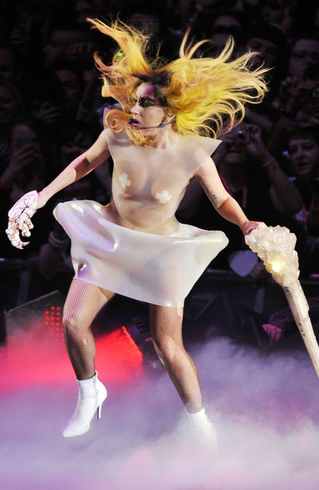 Lady Gaga displays her flamboyant fashion.