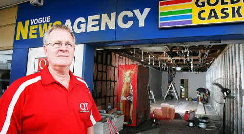 Vogue News owner Mike Boyland is rebuilding after the flood destroyed his Brisbane Street business.