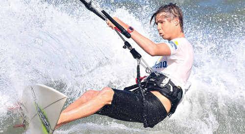 Australian junior kite board champion Tom McGregor in action at Anne Street.