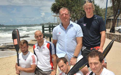 Members of the English kayak squad, clockwise from left, Ed Cox, Liam Heath, coach Alex Nikonorov, John Schofield, Ed McKeever and Kristian Reeves.