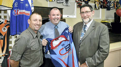TJRL chairman Darren Hutley, Clydesdales chairman Paul Reedy, and TRL chairman Greg McIntyre celebrate the launch of the 2011 rugby league season on Thursday night.