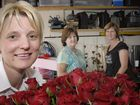 Toowoomba florists (from left) Marie Streidl, Kay Harris and Donna Ariell prepare for the busiest day in the industry, Valentine's Day.