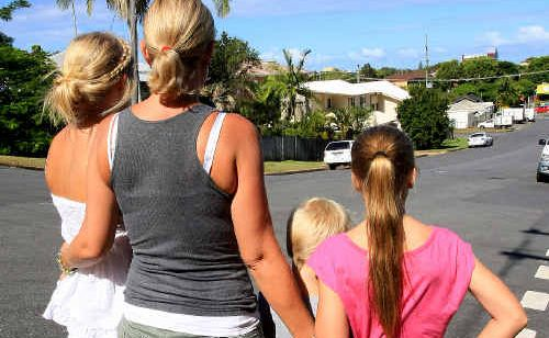 Kim Russell and her children were injured by a motorist who failed to give way at the intersection of Steep and Adelaide streets, Tweed Heads.