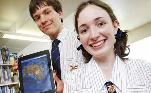 West Moreton Anglican College captains David Gavranich and Olivia MacPherson were excited to receive iPads.