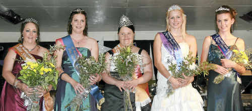 Killarney Show and Rodeo Miss Showgirl 2011 Courtney Darragh, with runner-up Bianca Weier, Miss Charity Queen Renee Weier, Junior Showgirl Tori Faithful and Show Princess Macee Grayson at the show ball.