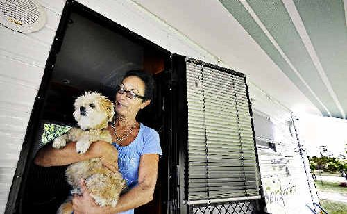 Kamini Wood, with her dog Saki, from the Gold Coast, has enjoyed the Casino Village RV Resort for three weeks.