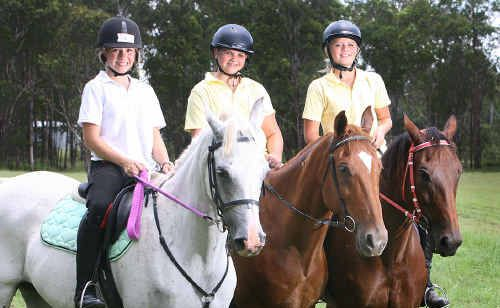 Savanah Jorna with Melissa and Deanna Ohnsorge on Azzi, Red and Phantom. They are part of the new City of Ipswich Pony Club.