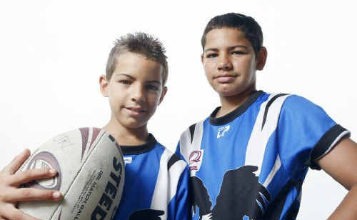Goodna junior rugby league team members Malik and Treavon Drahm getting ready for the new season.