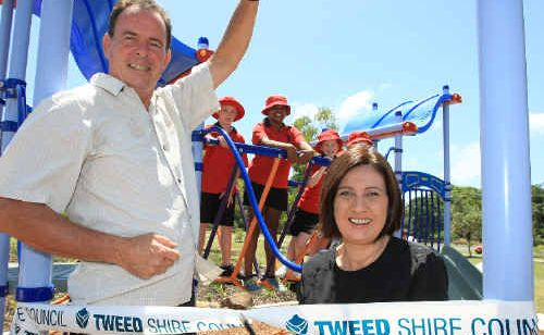 Tweed Mayor Kevin Skinner and Richmond MP Justine Elliot cut the ribbon at the Fingal boat harbour.
