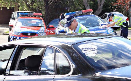 Traffic branch officers target motorists for traffic offences yesterday.