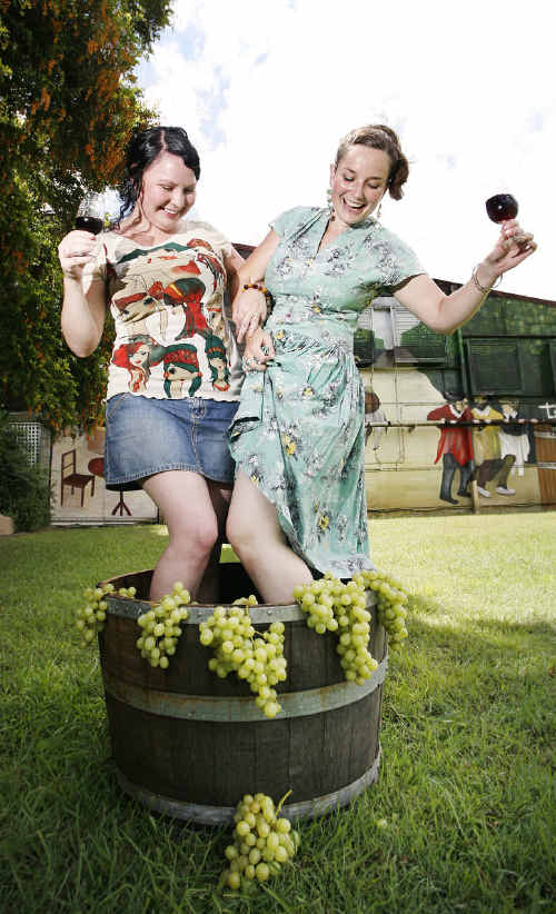 Natasha Campbell (left) and Katie Toohey of Soulful Stomp Productions are hosting the Grape Stomp Festival at Warrego Wines.