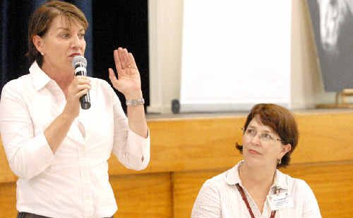 Premier Anna Bligh, with Member for Whitsunday Jan Jarratt at the Community Cabinet forum in Proserpine, said Ms Jarratt was well suited to the Tourism, Manufacturing and Small Business portfolio, which would play an important role in the reconstruction effort.