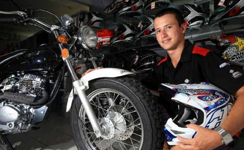 Bradie Sweeney checks out one of the latest bikes at Firestorm Motorcycles in Machinery Drive Tweed Heads South.