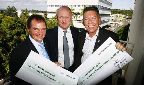 BIG CASH: Mayor Paul Pisasale, Sean O'Sullivan of James Hardie and State MP Wayne Wendt MP.