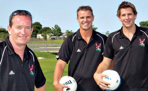 New coach Tom Coleman, left, pictured with captain Tim Newton and vice-captain Ray Schultz is hoping Caloundra Football Club will have a more productive season.