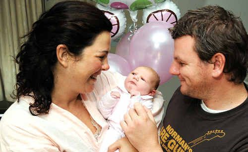 Samille Muirhead and Sam Bohner celebrate the birth of their first child, Avalon.
