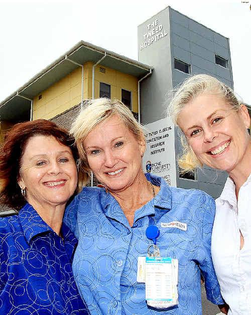 Tweed nurses Susan Anderson, Janelle Irvine, Charmaine Millar.