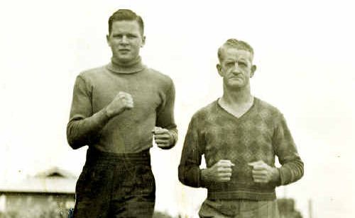 Tommy Burns (left) trains during his boxing prime.