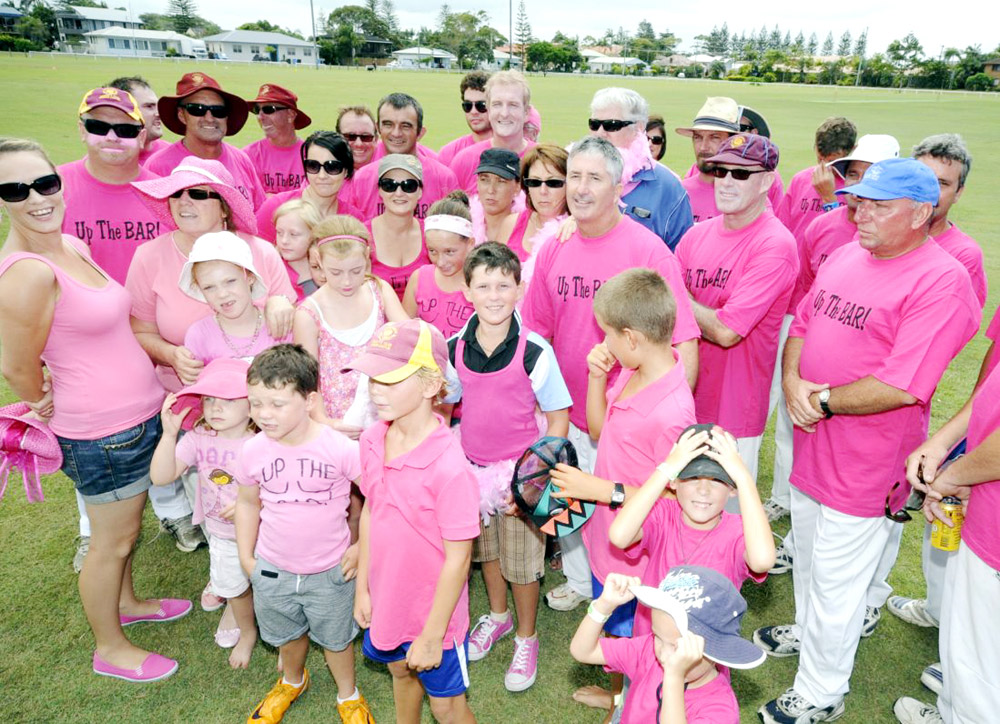 Some of the Tintenbar-East Ballina players and supporters who donned pink for National Pink Stumps Day on Saturday.