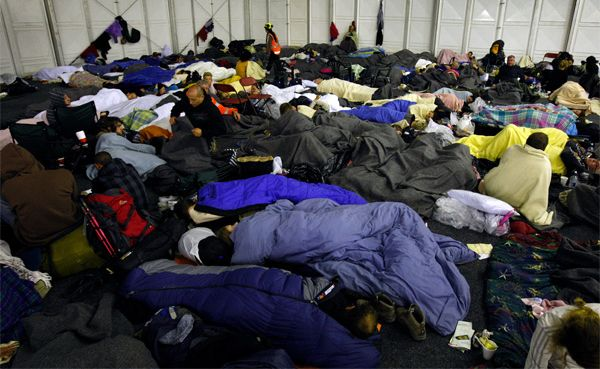 People seek refuge at evacuation centres.